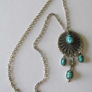 Tribal Silver Tone TURQUOISE SCARAB Necklace